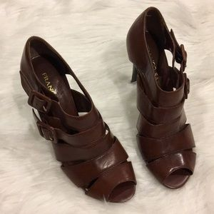 Shoes - Franco Sarto Peep Toe Strappy Buckled Sandals 6M
